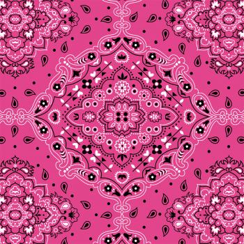 Tecido Tricoline estampado bandana rosa pink