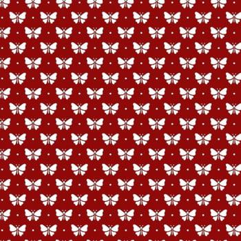 Tecido Tricoline estampado Borboleta Branca fundo vermelho