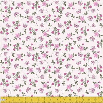 Tecido Tricoline estampado Botões de flores rosa