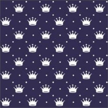Tecido Tricoline estampado Coroa fundo azul