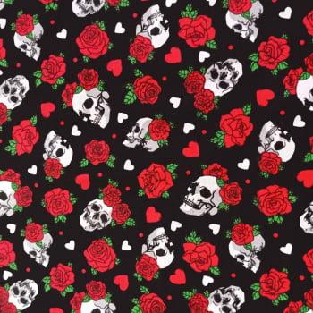 Tecido Tricoline estampado Dohler - Caveira e rosas