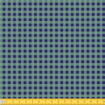Tecido Tricoline estampado Mini xadrez verde e azul