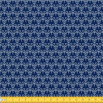 Tecido Tricoline estampado Tulipinha fundo azul marinho