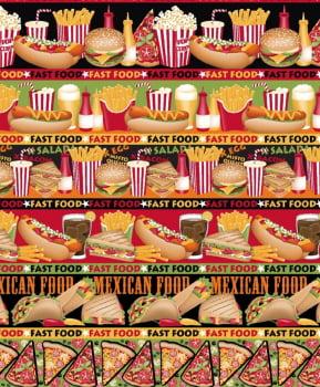 Tecido Tricoline estampado barrado fast food
