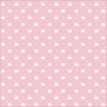 Tecido Tricoline estampado coroa rosa