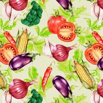 Tecido Tricoline estampa digital verduras