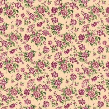 Tecido Tricoline estampado floral rosa fundo creme