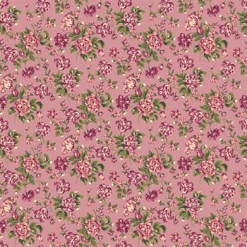 Tecido Tricoline estampado floral rosa fundo rose