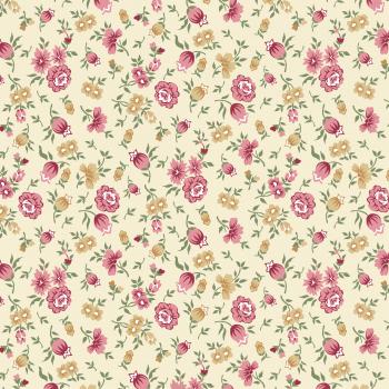 Tecido Tricoline estampado flores e botões creme