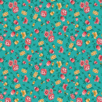Tecido Tricoline estampado flores e botões verde
