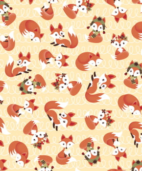 Tecido Tricoline estampado raposa