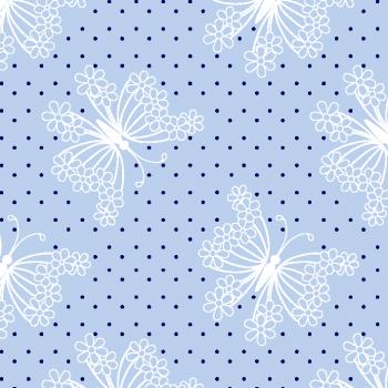 Tecido Tricoline estampado Borboleta azul