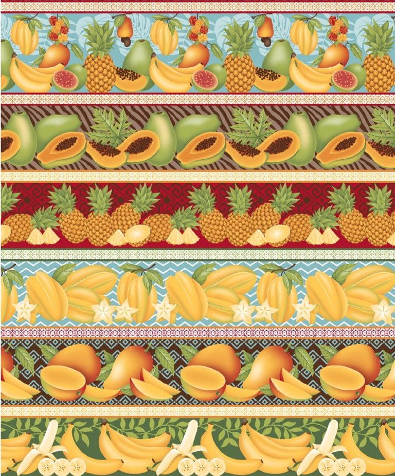 Tecido Tricoline estampado barrado frutas