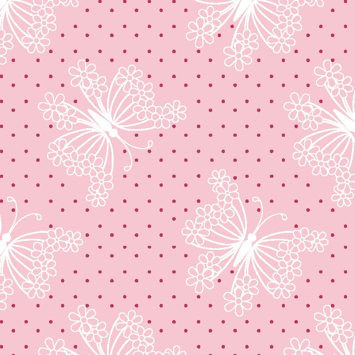 Tecido Tricoline estampado Borboleta rosa
